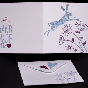 leaping hare shop hare greetings card
