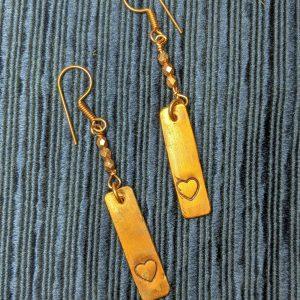 leaping hare shop copper earrings heart
