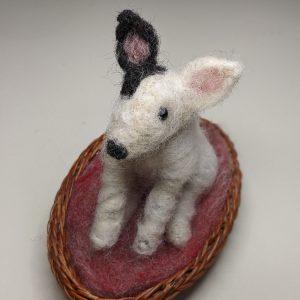 leaping hare shop felt bull terrier dog